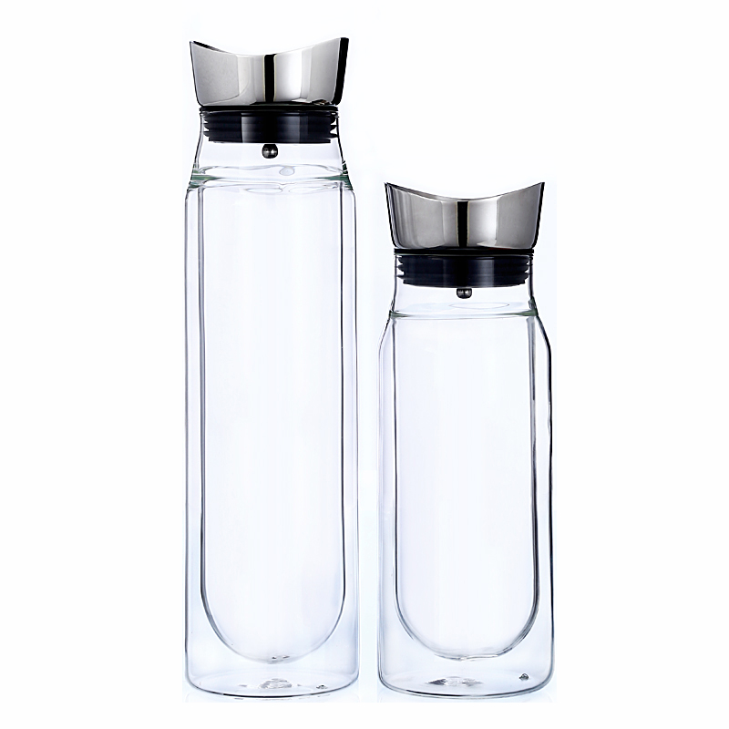 Free Carafe With Stainless Steel Flip Top Lid Hot And Cold Glass