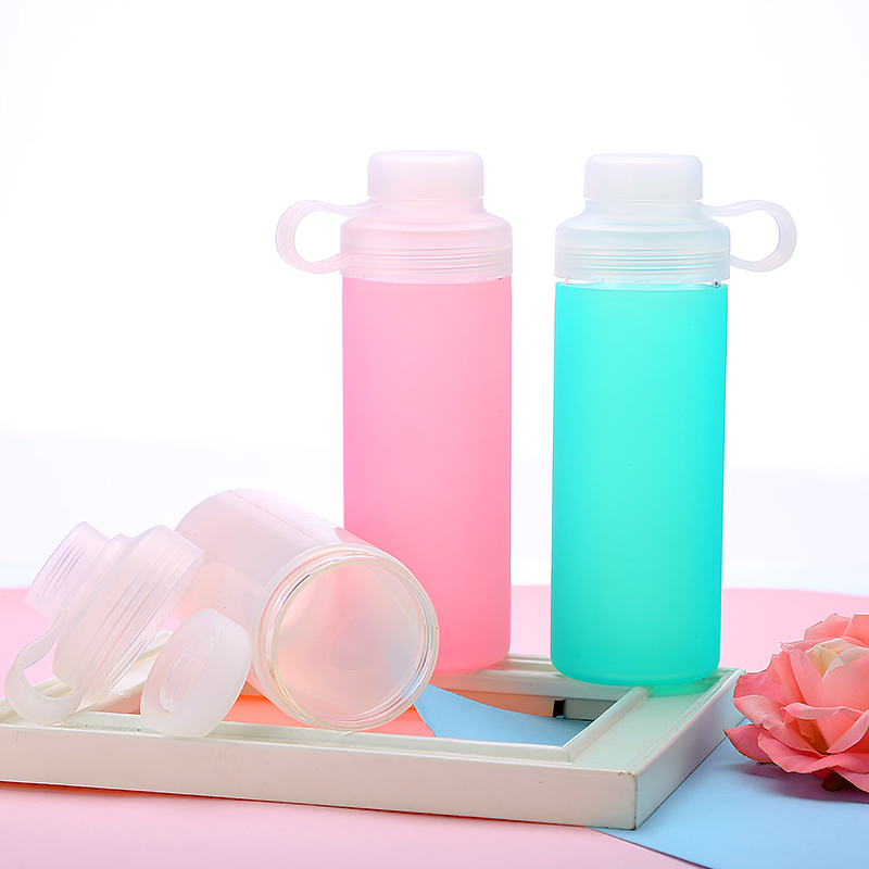 Large Glass Water Bottle – Narrow Mouth with Silicone Sleeve